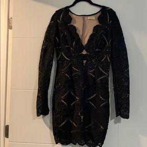 Cut out bodycon black dress